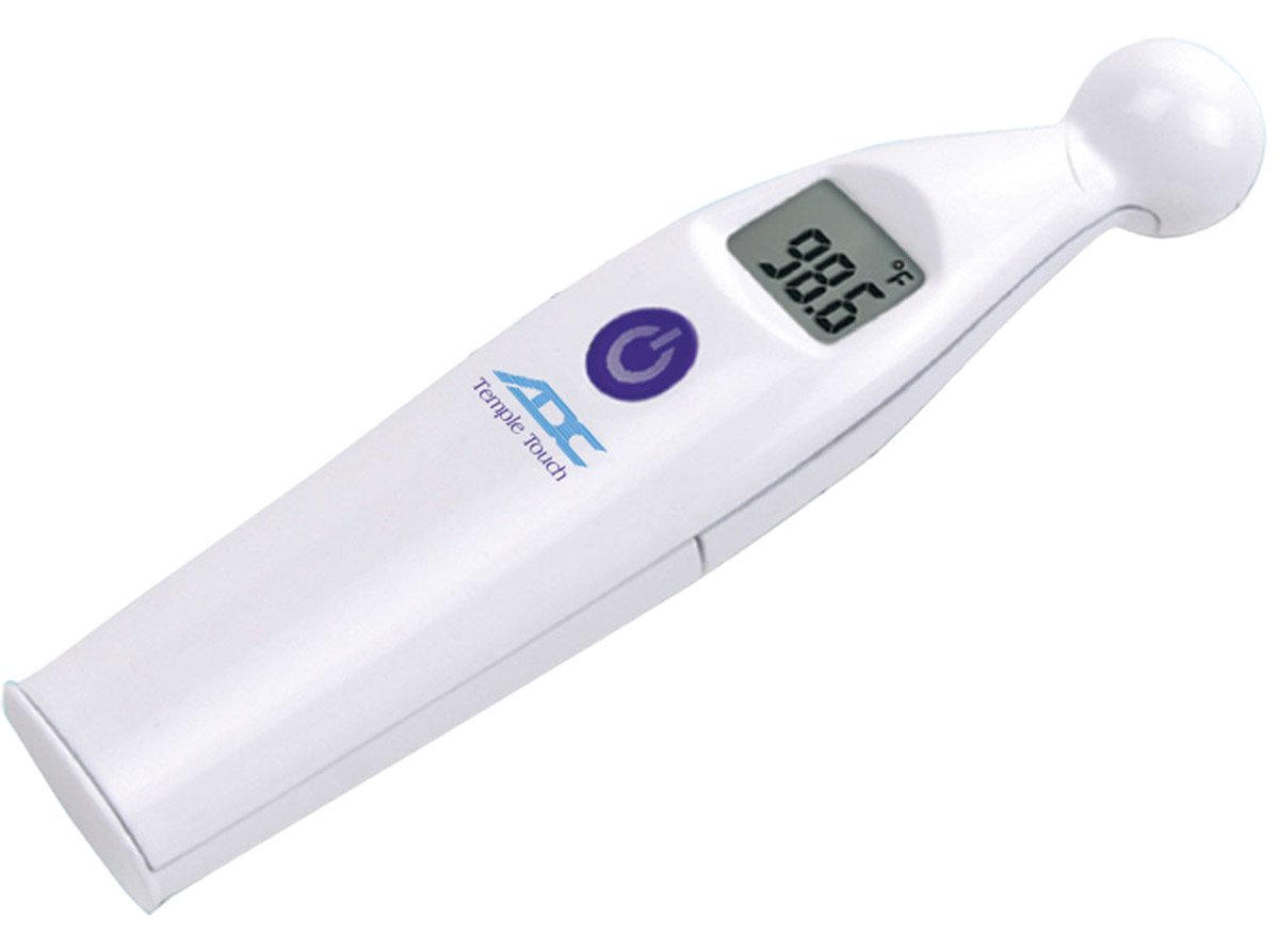 ADC Temple Touch Digital Fever Thermometer, Non Invasive and Quick Read, Suitable for Babies, Newborns, Kids, and Adults, Adtemp 427, White: Industrial & Scientific
