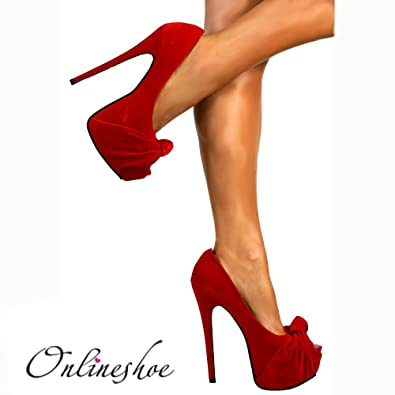 c9beb5594731 Onlineshoe Peep Toe Stiletto Concealed Platform High Heel Shoes - Red  Knotted Suede UK 7 -