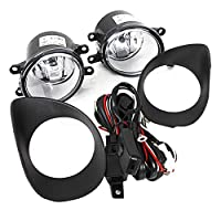 Gloryelenxs 1 Pair Hatchback Front Bumper Clear Fog Lights Lamps +Switch Replacement for Toyota Yaris 06-08