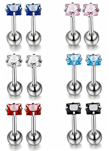 ORAZIO 12Pcs 18G Stainless Steel Women Ear Nose Piercing Barbell Earrings CZ Inlaid