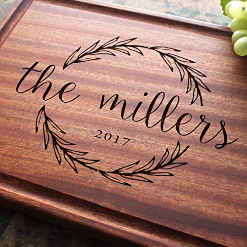 (Olive Wreath Personalized Engraved Cutting Board- Wedding Gift, Anniversary Gifts, Housewarming Gift,Birthday Gift, Corporate Gift, Award, Promotion.)