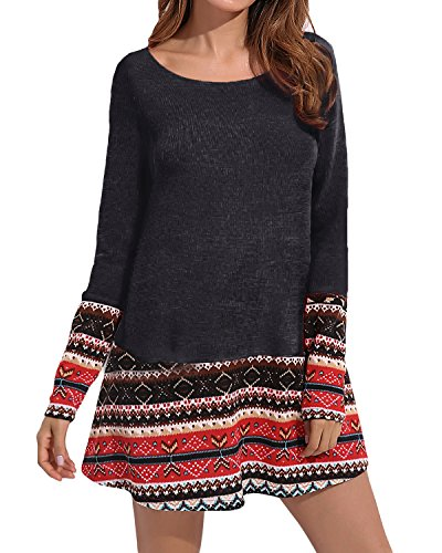 CNFIO Women's Knitted Christmas Dress with Pocket Patchwork Plus Size Loose Swing Tunic Black2 3XL ()