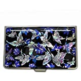 Antique Alive Mother of Pearl Blue Butterfly Metal Business Credit Name Id Card Holder Case Wallet (B115)
