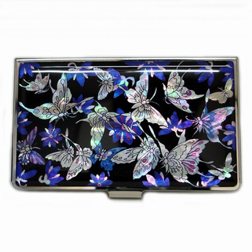 - Antique Alive Mother of Pearl Blue Butterfly Metal Business Credit Name Id Card Holder Case Wallet (B115)