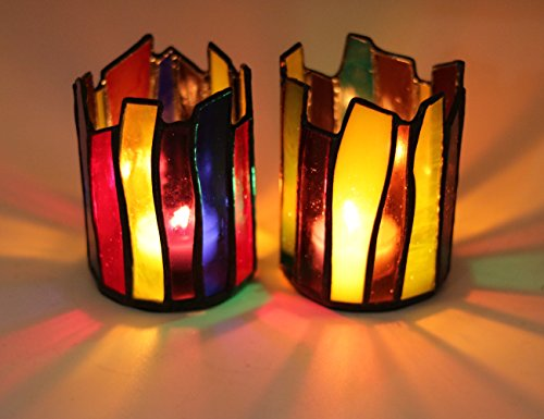 "HAOSUM CANDLE HOLDER STAINED GLASS TEALIGHT HOLDER VOLTIVE CANDLE HOLDER COLORED GLASS CANDLE JAR STAINED GLASS JAR SET OF 2, 2.9*4.1"" (Colorful Candle Holders)"