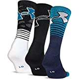 Under Armour Men's Performance Crew Socks 3-Pack Black Blue White Men's Medium