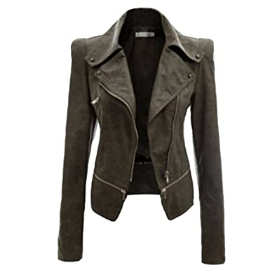 outlet store f7a80 aaf4a NiSeng Donna Giacca in Pelle Chiodo Biker Zip Bomber Pelle ...