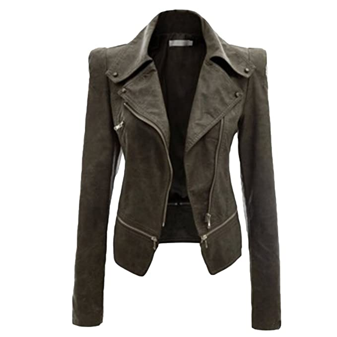 a36f2f3cdc NiSeng Donna Giacca in Pelle Chiodo Biker Zip Bomber Pelle Giubbotto ...