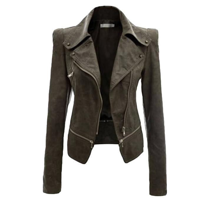 NiSeng Donna Giacca in Pelle Chiodo Biker Zip Bomber Pelle Giubbotto Punk  Stile Moto Collare  Amazon.it  Abbigliamento a10417c7ad81