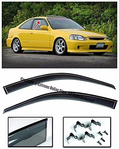 Honda Civic 4dr Wagon (For 96-00 Honda Civic Coupe | Hatchback Models Smoke Tinted CLIP-ON JDM Style Side Window Visors Rain Guard 1996 1997 1998 1999 2000 2001 96 97 98 99 00 01 2D 4D EK9 EM1 Si)