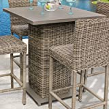 Bar Table Garden Patio and Backyard Furniture All-weather Materials Coated Finish Aluminium Hand Woven High Density Resin Wicker