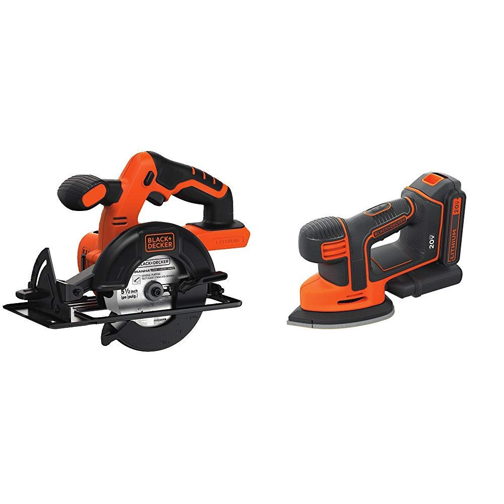 BLACK+DECKER BDCCS20B 20-volt Max Circular Saw Bare Tool, 5-1/2-Inch with BLACK+DECKER BDCMS20C 20V MAX Lithium Ion MOUSE Sander