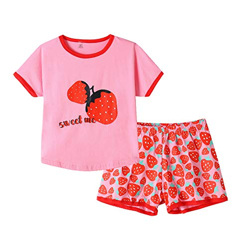 MyFav Pajama Set Big Girls Comfy PJS Lovely Heart Shape Printed Sleepwear Nighty Strawberry