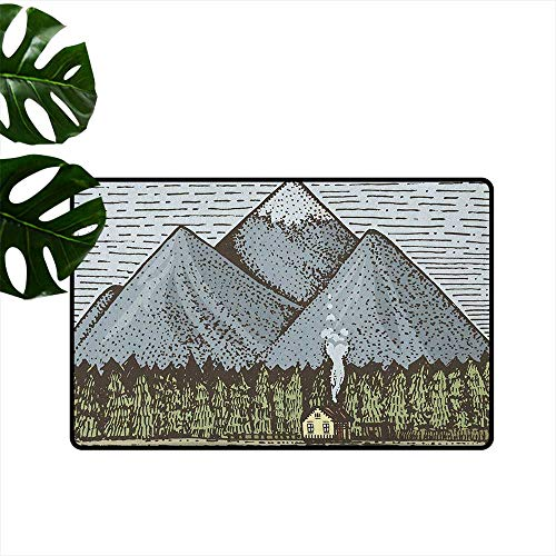 Mountain,Washable Entrance Doormat Sketchy Art of Mountain Range with a Small Country House Vintage Look 24