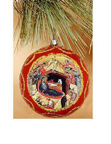 Needzo Orthodox Christmas Ornament Decoration Nativity of Christ Byzantine Icon Saints Angels 4 1/2 Inch, Red (Christmas Ukraine Orthodox)