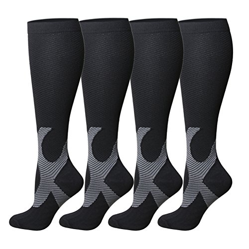 Compression Socks For Women and Men - 20-25mmHg- 4 Pairs BEST Stockings for Running, Athletic, Edema, Diabetic, Varicose Veins, Travel, Pregnancy & Maternity (L/XL, Black, 4 Pairs)