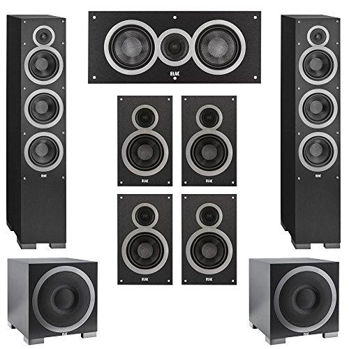 Elac 7.2 System with 2 Debut F6 Floorstanding Speakers, 1 Debut C5 Center Speaker, 4 Debut B6 Bookshelf Speakers, 2 Debut S12EQ Subwoofer by Elac
