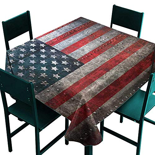 Hinxinv Square Tablecloth spillproof American Flag,Royalty Flag Textured US Backdrop on Damaged Board Plate Design Artwork Print,Red Grey,W60 x L60 for Party
