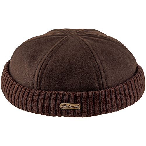 Sterkowski Men's Wool Beanie Docker Cap US 7 7/8 Brown (Where Would You Measure)