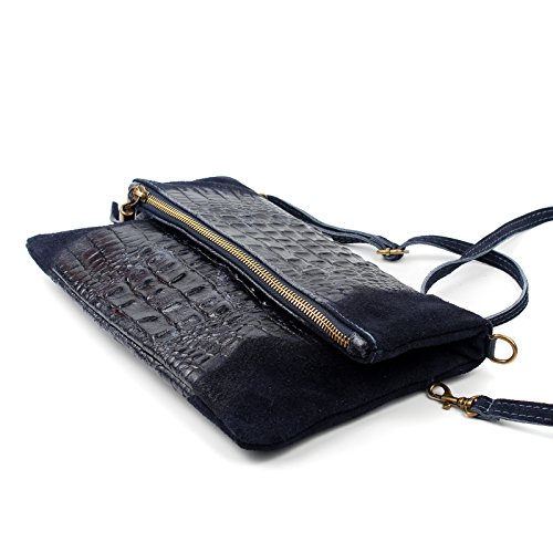 Aossta Clutch Bag Occasion Grey Envelope Wedding Shoulder Bag Leather Suede Bag Real Dark Croc qIZSIr