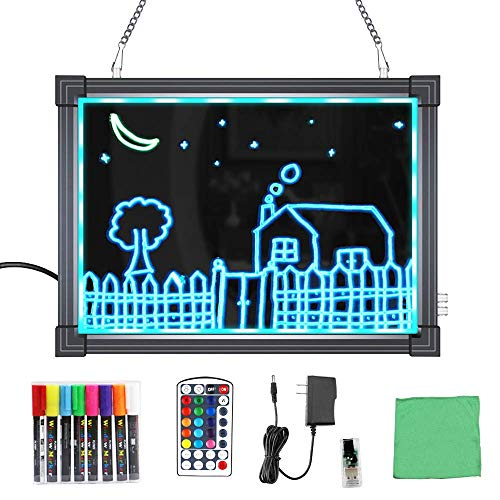 """MBQMBSS LED Message Writing Board 16"""" X 12"""" Illuminated Light Erase Board Acrylic Led Message Board Outdoor Erasable Lighted Letter Board Menu Sign Board with Remote Control&8 Colors Chalk Marker"""