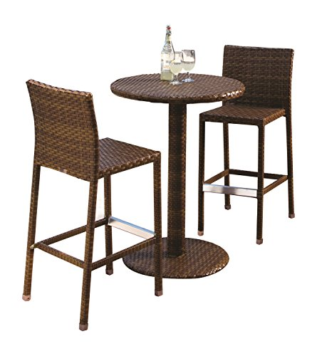 Panama Jack Outdoor 3-Piece St Barths Pub Set, Includes 2 Stationary Barstools and 36-Inch Pub Table by Panama Jack Outdoor