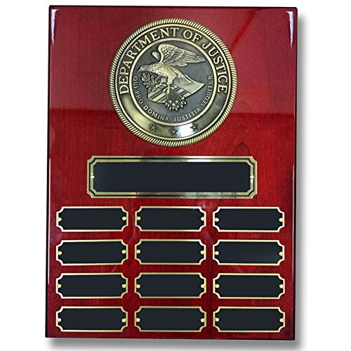 Customizable 9 x 12 Cherry Piano Finish Perpetual Plaque with Department of Justice Medallion, includes Personalization