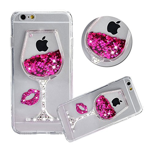iPhone 8 Plus Liquid Case,Shinetop Diamond Creative Flowing Quicksand Cover for iPhone 8 Plus /iPhone 7 Plus 5.5 Bling Glitter Sparkle Stars Soft TPU Silicone Crystal Clear Protective Case - Hot Pink