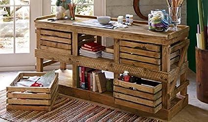 Mesa escritorio de madera, fabricada con palets (cajas de fruta de madera) reciclados