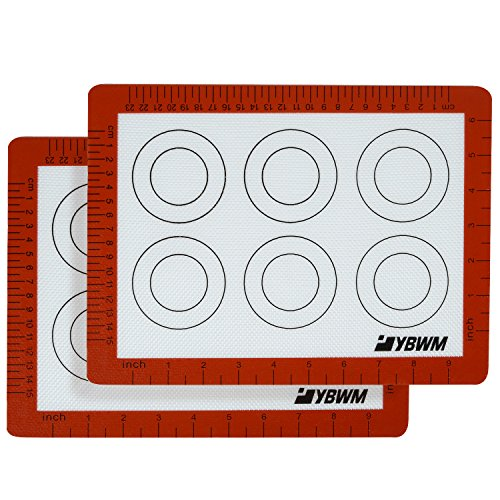 Silicone Baking Mat Sheet,Set of 2 Non Stick Macaron Tray Pans - Tray Sheet 250 Paper Universal