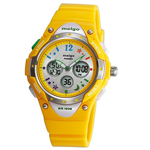 Chronograph Yellow Wrist Watch - Boys Watches, Dual Time Waterproof 330 Feet Sports Casual Wrist Watches with Bling Bling Moon Star Pattern Packed in Gift Box 2001ad Yellow