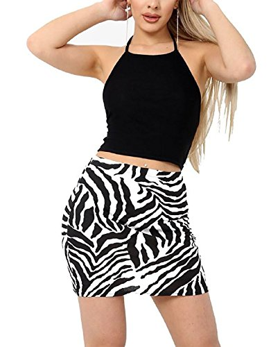 Rimi Hanger Womens Printed Elasticated Stretch Mini Skirt Ladies Fancy Party Wear Short Skirt Zebra Print Medium/Large