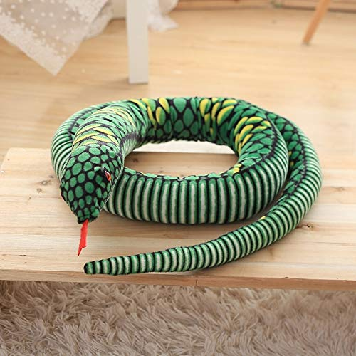 GOOGEE Snake Stuffed - Giant Simulation Snake Cloth Toy Soft Stuffed Dolls Birthday Gifts Baby Funny Plush Toy Long 111 Inch Snake Plush Toy - 111 Inch Green - Sequins Yellow Purple Space - Eel Cobra