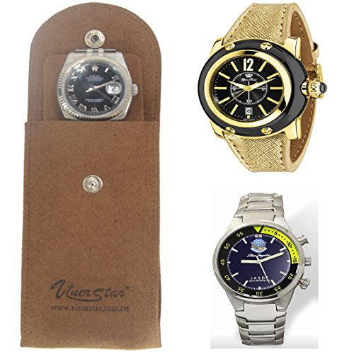Prettygoal Brown Imitation Sheepskin Watch Pouch Jewelry Bag Durable Leather Watch Organizer(Brown) (Wholesale Leather Jewelry)