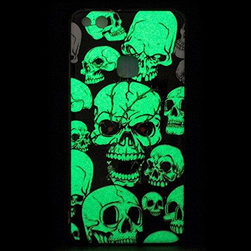 Funda Huawei P10 Lite, CaseLover Carcasa Noctilucent Luminous TPU Silicona para Huawei P10 Lite (6.0 pulgadas) Ultra Delgado Suave Fluorescente Efecto Verde Brillo Nocturno En la Oscuridad Protectora  Cráneo