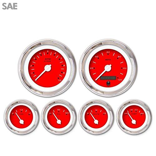 White Modern Needles, Chrome Trim Rings, Style Kit DIY Install Aurora Instruments 3286 Pegged Red SAE 6-Gauge Set