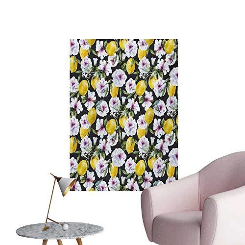(Anzhutwelve Floral Wallpaper Tropical Hibiscus Blossoms Petals with Lemons Nature Harvest Spring Essence ImageMulticolor W20 xL28 Space)