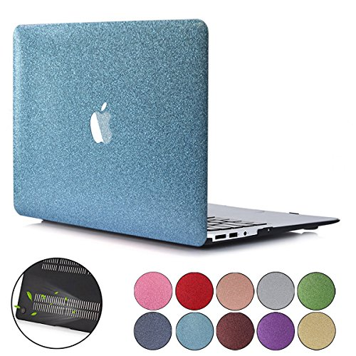 PapyHall New Bling Bling Crystal Rubberized Coated Hard Cover Case Colored Glitter Design Plastic Case for 2018 Release MacBook Air 13 inch with Touch ID Model: A1932 SS-Blue