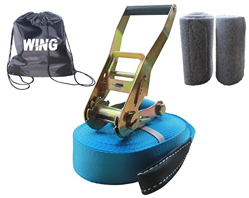 Wing Slackline Kit 49 Feet (15m) X 2 Inch (50mm). Includes Two Tree Protectors and Free Carry Bag. 100%.