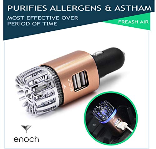 Enoch Car Air Purifier with USB Car Charger 2-Port. Car Air Freshener Eliminate Odor, Dust, Pollen, Bacteria, Removes Cigarette Smoke, Pet and Food Odor, Ionic Ozone, Relieve Allergy - Rose Gold. -