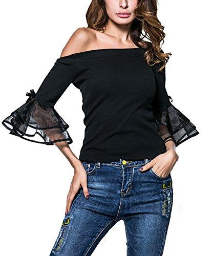 Y Primavera Delgado Cuerno Remata Sexy shirt Smalltile Barco Camisetas Tops Colores Otoño Manga Blouses Negro T Lisos Mujer Moda Cuello Xw55qpd