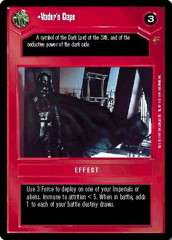 STAR WARS CCG DS CLOUD CITY LIMITED VADER'S CAPE - Cape Ds