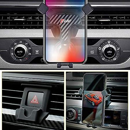 YUZHONGTIAN Aluminum Alloy Plastic T Shape Car Phone Mount Car Cradle Mobile Phone 360/° Adjustable Holder 4pcs For A4 A5 2017-2019 Carbon Fiber Black