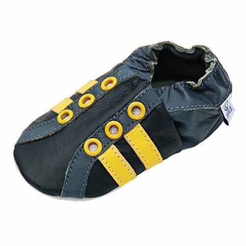 Lappa.de - Zapatillas de piel para niños (suela de ante, tallas de la 19 a la 31, con ojales), diseño deportivo, color amarillo, negro y gris