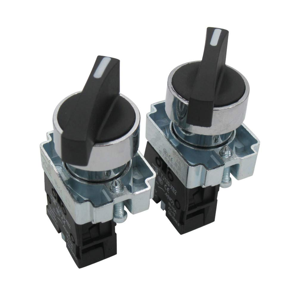 TWTADE / 2Pcs 22mm SPDT 1 NO Two 2 - Positions Maintained Latching Rotary Select Selector Switch 440V 10A (Quality Assurance for 3 Years) XB2-10XC