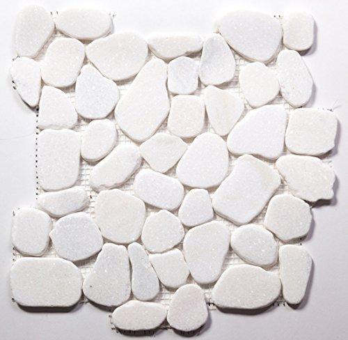 White Pebble Tile - White Jade Flat Natural Pebble Stone Mosaic Tile / 1 sq ft