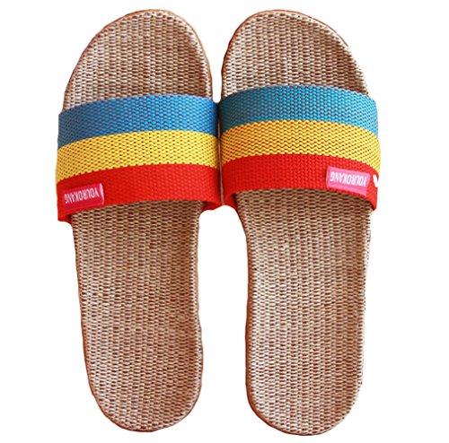 Hoxekle Summer Comfy Mens Womens Linen Slippers Non-Slip Home Indoors Bedroom Unisex Slippers For Kids