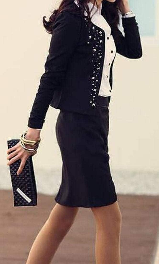 OTW Womens Work Office OL Open Front Rivet Slim Long Sleeve Blazer Jacket Suit Coat