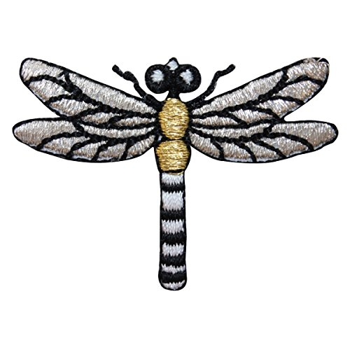 ID 1673B Metallic Dragonfly Patch Garden Insect Bug Embroidered Iron On Applique