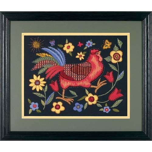 Black Crewel Embroidery Kit - Dimensions Rooster on Black Crewel Embroidery Kit, 11'' W x 14'' H